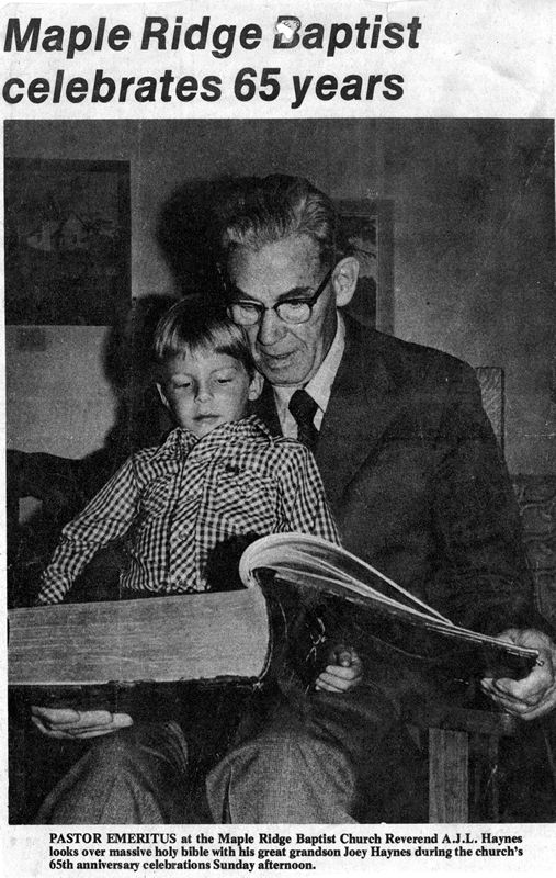 Joe Haynes, director of Historicism.com, with his grandfather, A.J.L. Haynes, c. 1976. - CLICK TO ENLARGE